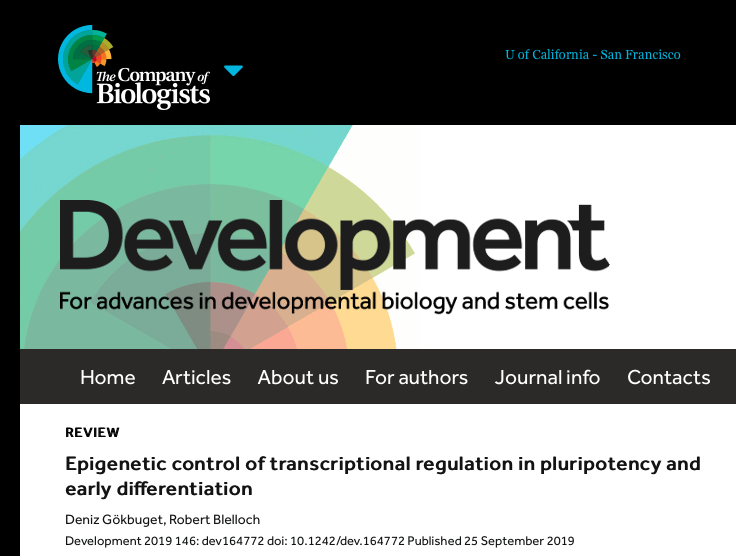 screen shot of title page; journal Development 2019 September 25 issue